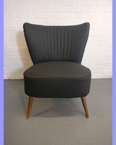 Cocktailstoel zwart kunstleer