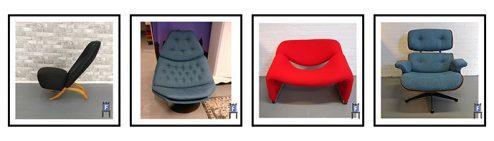 Bekleden van Designmeubels zoals Artifort F587, Artifort Congo, M-chair of Groovy en de Eames Lounge Chair