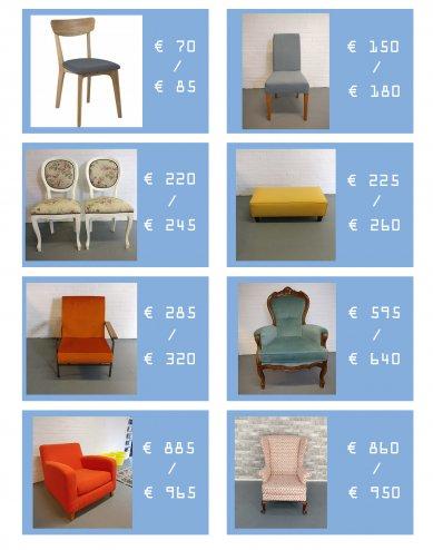 Prijsindicatie bekleden meubels per soort meubel